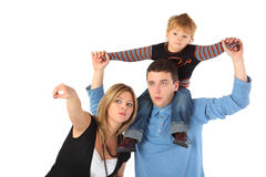 Mother points, father with son on shoulders Stock Photos