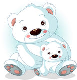 Mother polar bear with her sons. Vector illustration of mother polar bear with her sons Stock Images