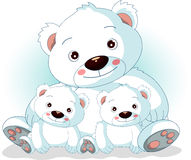 Mother polar bear with her sons. Vector illustration of mother polar bear with her sons Stock Photo