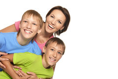 Mother posing with her sons Royalty Free Stock Images