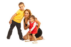 Mother posing with two kids Stock Photography