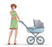 Mother with pram. On a white background Royalty Free Stock Photo