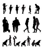 Mother with Pram and Children Silhouette Vector Royalty Free Stock Photos