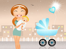Mother with pram Stock Images