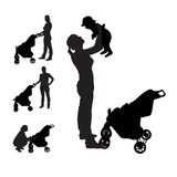 Mother with pram Silhouette Vector Illustration Stock Photography