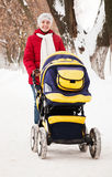 Mother with pram  in winter park Stock Images