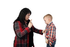Mother preaches son Royalty Free Stock Photography