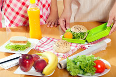 Mother preparing healthy lunch box for child Stock Photos