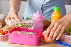 Mother preparing lunch box Royalty Free Stock Images