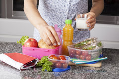 Mother preparing lunch box Stock Images