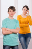 Mother and problem child. Royalty Free Stock Photos