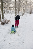 Mother pulling snow sledge Stock Image
