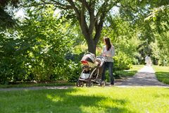 Mother Pushing Baby Carriage In Park Stock Photos