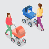 Mother pushing a baby stroller isolated against white background. Royalty Free Stock Photography