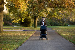 A mother pushing a stroller in the park Royalty Free Stock Photo