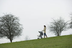 Mother Pushing Stroller In Park Royalty Free Stock Photography