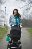 Mother Pushing Stroller In Park Royalty Free Stock Images