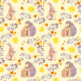 Mother rabbit and mom hedgehog embrace baby animal. Watercolor painted seamless pattern Stock Photos