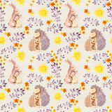 Mother rabbit and mom hedgehog hug baby animal. Watercolor painted seamless pattern Royalty Free Stock Photography