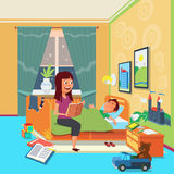 Mother read book to child vector illustration Royalty Free Stock Photography