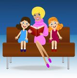 Mother read book two little daughter royalty free illustration