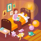 Mother Reading Bedtime Stories. Mother reading aloud bedtime stories sitting on child bed preparing kid for sleep retro poster vector illustration Stock Photos