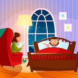 Mother reading bedtime story to her douther. Vector illustration in flat style Royalty Free Stock Image