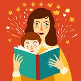 Mother reading a book for her child illustration Royalty Free Stock Photos
