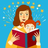 Mother reading a book for her child illustration Stock Photography