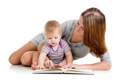 Mother reading book kid boy Stock Photos
