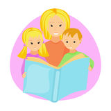 Mother reading book to her children Royalty Free Stock Photo