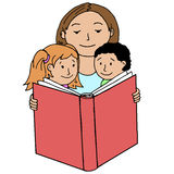 Mother reading book to her children Stock Image