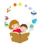 Mother Reading a Book to Her son stock illustration