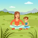 Mother reading a book to her son on  nature background, family leisure flat vector illustration. Web banner Royalty Free Stock Photography