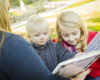 Mother Reading a Book to Her Two Adorable Blonde Children Stock Image