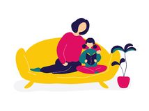 Mother reading books with daughter on sofa vector illustration