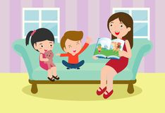 Mother reading fairy tales to her son and daughter, family, reading and telling book fairy tale story, Kids Listening to Their mom. Tell a Story, Vector stock illustration