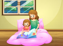 A mother reading with her daughter vector illustration