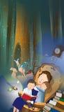 Mother Reading Stories To Her Children vector illustration