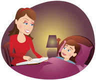 Mother reading to girl in bed Stock Photos