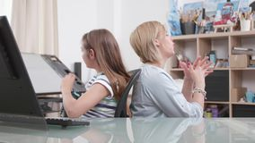 Mother rebukes her young teenage daughter because of her irresponsability stock footage