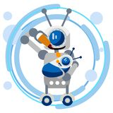 Mother robot feeds the baby with oil for equipment. In minimalist style. Flat isometric vector. Illustration vector illustration