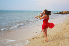 Mother rotate her sun Royalty Free Stock Images