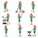 Mother daily routine activities, super mom concept, vector Illustrations royalty free illustration