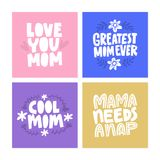 Mother`s dat cards. Set of greeting cards for mother`s day. Vector lettering vector illustration