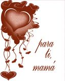 Mothers day greeting card in spanish. Greeting card for Mothers Day. Text in spanish Stock Photography
