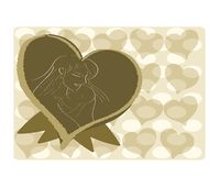 Mothers day greeting card with hearts. Greeting card for Mothers Day. in the heart is represented a woman who holds in her arms her son Stock Photo