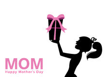 Mother's day. Mothers day and present silhouette vector Royalty Free Stock Photo