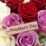 Mother's Day. Label Mother's day on bouquet of flowers