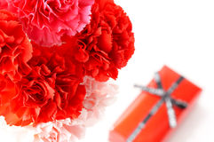 Mother's day. Red carnation and little gift box Royalty Free Stock Photos